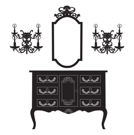 antique furniture: Dressing Table and mirror Frame and wall lamps. French rich carved ornaments furniture. Antique  Royal Style collection
