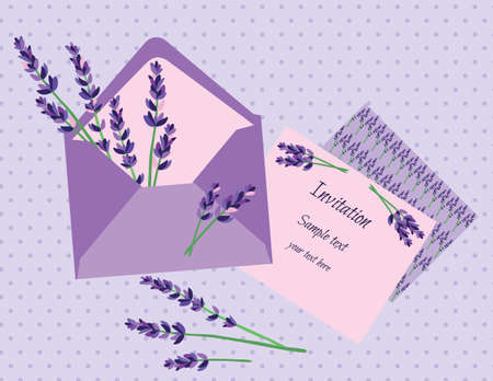 Purple lavender invitation card vector wedding invitation letter purple lavender invitation card vector wedding invitation letter with lavender flower vintage background stock m4hsunfo