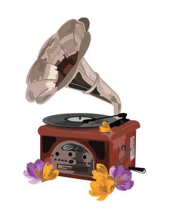restored: Vintage Retro gramophone and flowers Vector