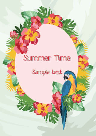 tahiti: Exotic tropical Summer card with parrot birds and flowers. Vector background illustration