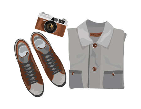 trendy male: Vector Shirt and shoes and vintage camera. Set of trendy mens shoes and accessories. Male wardrobe. Vector illustration