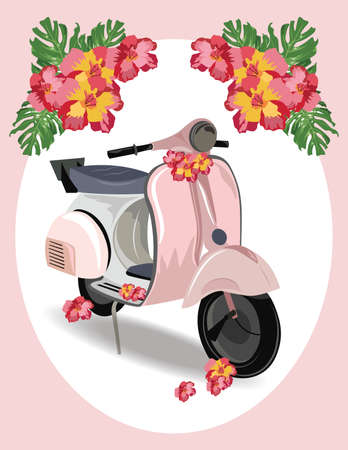 static bike: Pink Motor Scooter with flowers Vector illustration. Vintage Retro style bike Illustration