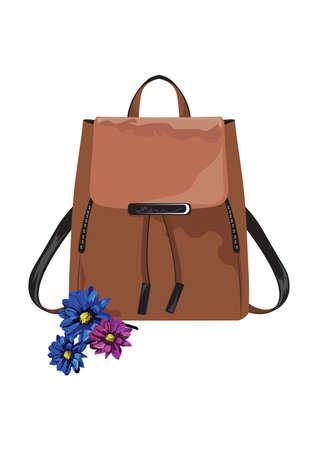 leather bag: Vector Vintage leather bag on white background