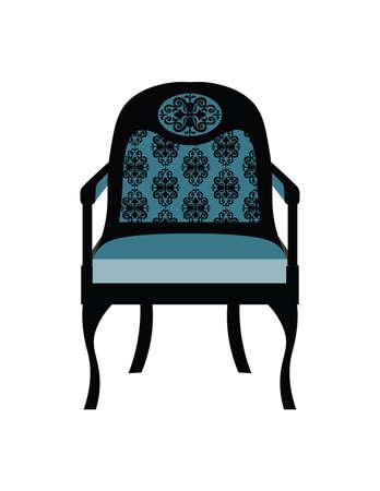 Vintage Chair furniture Vector. Rich carved ornaments furniture. Vector Victorian Style furniture. Royal blue color sketch Illustration