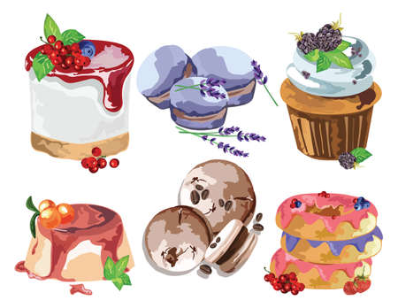 sweet treats: Delicious Desserts set. Sweet treats delicious macaroons, donuts and cakes. Vector realistic fruit cakes illustration. Retro style watercolor handmade collection