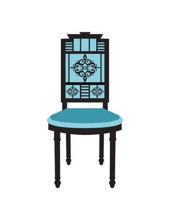 baroque room: Vintage Chair furniture Vector. Rich carved ornaments furniture. Vector Victorian Style furniture. Royal blue color sketch Illustration