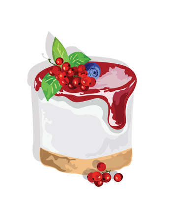 Delicious cake with cranberry jam Vector isolated.  Vector cake slice isolated