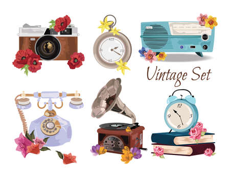 19th century style: Antique Vintage Accessories set collection Vector. A collection or big set of hand drawn vintage styled elements