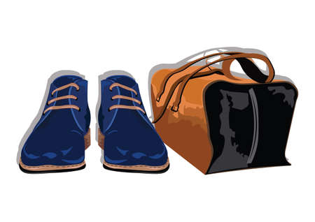 trendy male: Male shoes and bag. Set of trendy mens shoes and accessories. Mens wardrobe. Vector illustration