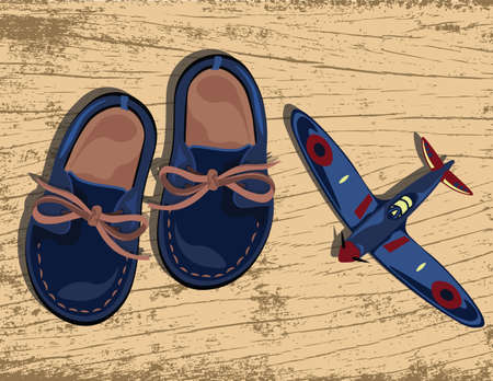 brogues: Boys casual shoes and plane toy Vector