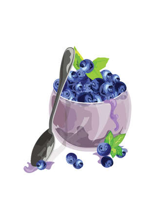 Blueberry bowl Vector. Freshly picked fruits in wooden bowl. Juicy and fresh blueberries with green leaves