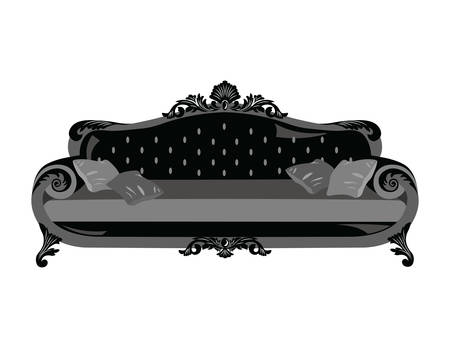 Vintage sofa Vector. Rich carved ornaments furniture. Vector Victorian Style couch. Black color sketch Illustration