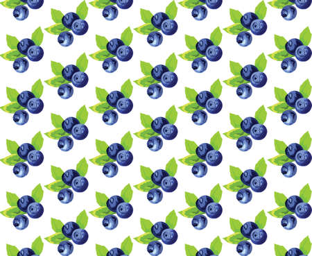whortleberry: Blueberries Vintage pattern Vector. Watercolor painting. Blue, indigo, green colors