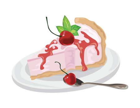 cake slice: Delicious cake Vector isolated. Vector cake slice isolate. Cranberry fruits jam topic Illustration