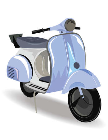 static bike: Blue Motor Scooter with flowers Vector illustration. Vintage Retro style bike