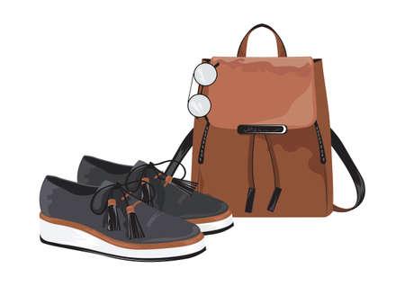 leather bag: Vector Vintage leather bag and shoes set on white background Illustration