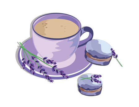 Coffee or Tea cup with lavender Macaroons. Vintage Delicious Vector Illustration 일러스트