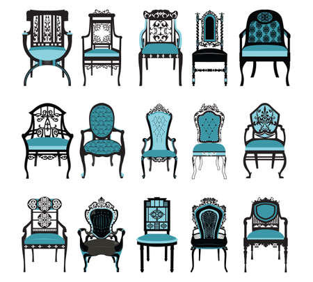 royal blue: Vintage Chair furniture set collection  Vector. Rich carved ornaments furniture. Vector Victorian Style furniture. Royal blue color sketch
