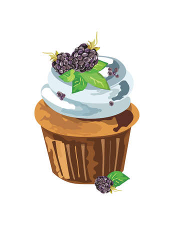 whipped cream: Cupcake with blackberry whipped cream. Vector illustration