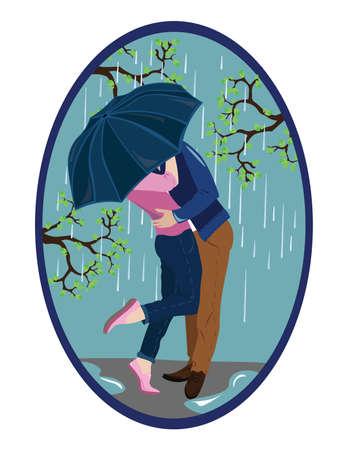 st valentin's day: Romantic couple kissing in the rain Vector illustration