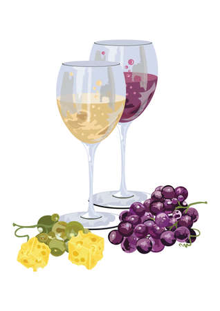 wine grapes: Glasses of wine with grapes and piece of cheese. Food background Vector