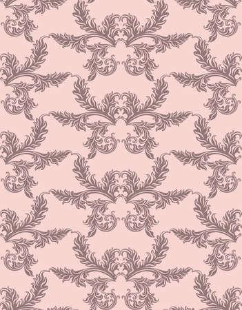 Rétro ornement floral. Vector abstract décor pour milieux, texture, tissu, textile, cartes. couleur rose Vecteurs