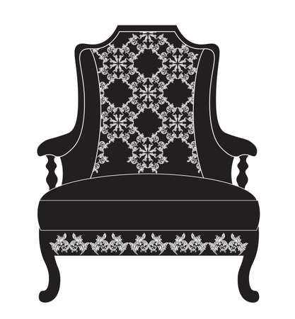 sophisticate: Vintage upholstered armchair.  Luxury rich carved ornaments furniture. Vector Victorian exquisite Style ornamented chair
