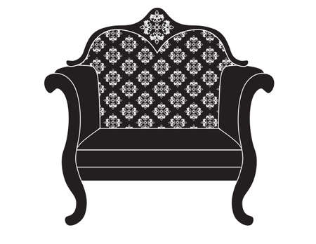 upholstered: Vintage upholstered armchair.  Luxury rich carved ornaments furniture. Vector Victorian exquisite Style ornamented chair