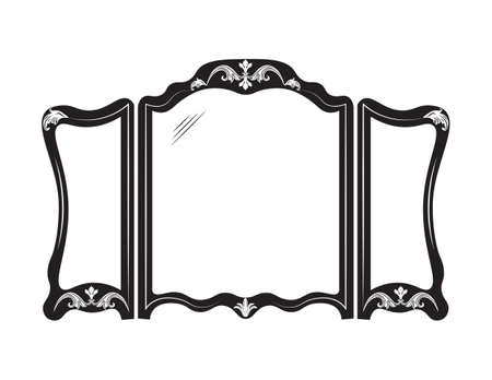 mirror and frame: Vintage mirror frame. French Retro style carved furniture. Royal style collection Illustration