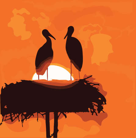 Pair of storks silhouettes in the nest on sunrise background. Vector symbolic romantic illustration Illustration