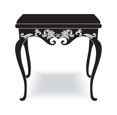Rich Baroque coffee Table. French Luxury rich carved ornaments furniture. Vector Victorian Royal Style furniture. Black background Illustration