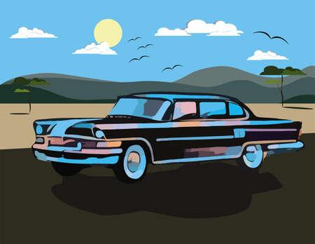 watercolor technique: Vintage Retro car Vector in Watercolor technique
