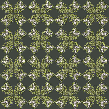 vegetal: Vintage Retro floral chamomile ornament pattern. Vector abstract decor for backgrounds, texture, fabric, textile, cards. Green color
