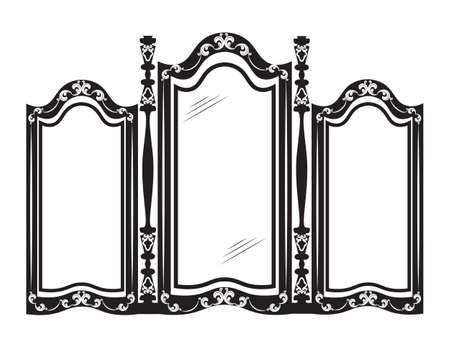 aristocracy: Vintage mirror frame. Classic style carved furniture. Royal style collection