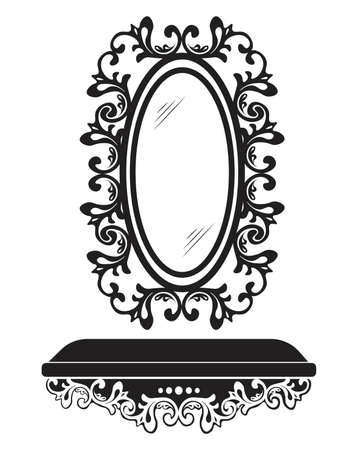 sophisticate: Baroque Rococo Mirror frame decor. Vector French Luxury rich carved ornaments and Wall Frames. Victorian Royal Style frame