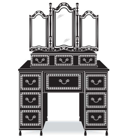 Vintage Dressing Table and mirror frame. French Luxury rich carved ornaments furniture. Victorian Royal Style furniture Illustration