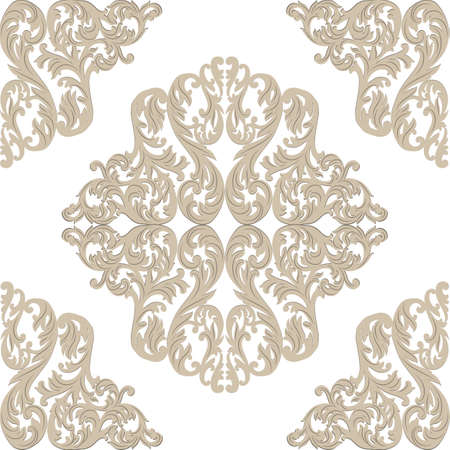 victorian textile: Vintage Baroque ornament pattern. Vector damask decor. Royal Victorian texture for wallpapers, textile, fabric