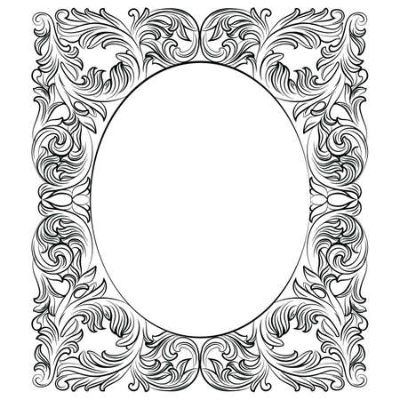 Vintage Imperial Baroque Round frame. Vector French Luxury rich carved ornamented decor. Victorian wealthy Style structure Illustration