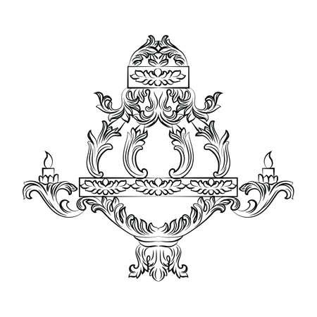 baroque room: Exquisite Rich Baroque Classic chandelier. Luxury decor accessory design. illustration sketch