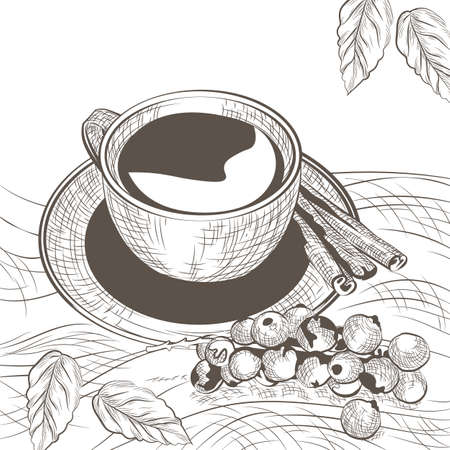 lithograph: Cup of coffee with cinnamon and berry. Autumn background. illustration engraved sketch style. Old engraving technique