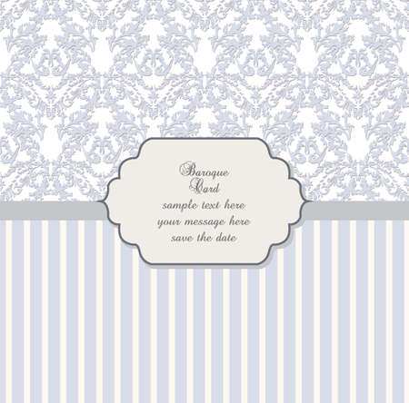 ceremonies: Damask Lace Invitation card with floral ornament. Delicate intricate decorated card for wedding ceremonies, anniversary, events. Pastel trendy colors