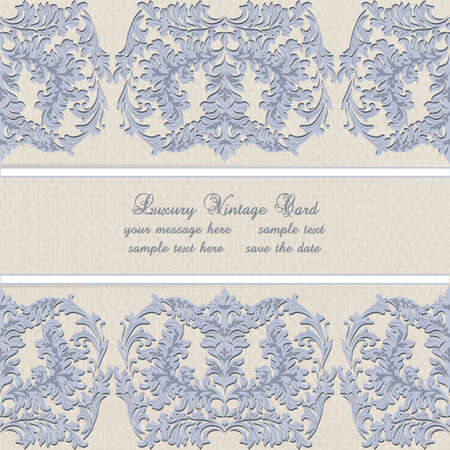 ceremonies: Damask Lace Invitation card with floral ornament. Delicate intricate decorated card for wedding ceremonies, anniversary, party, events. Serenity color