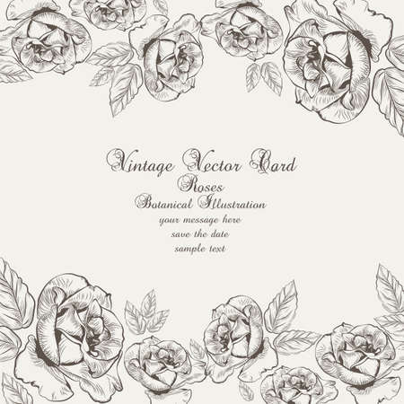 lithograph: Floral Vintage Invitation card. Black and white Garden Roses. Festive Postcard for weddings, ceremony, events. Hand drawn engraved technique Illustration