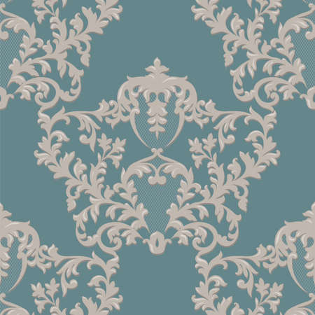 revive: Baroque Luxury Ornament lace decorated. Vintage Imperial Baroque pattern. Damask floral decor. Royal Victorian texture for wallpapers, textile, fabric. cream and green color