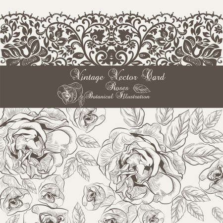 lithograph: Vintage Floral and lace Invitation card. Black and white Garden Roses. Festive Postcard for weddings, ceremony, events.  engraved technique Illustration