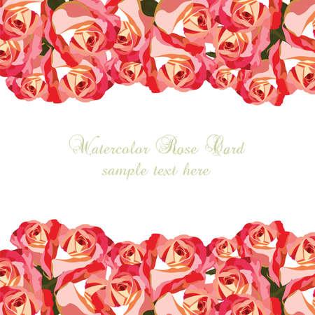 Acuarela Tarjeta Rosa Rosa Flores Frontera Floral Para El