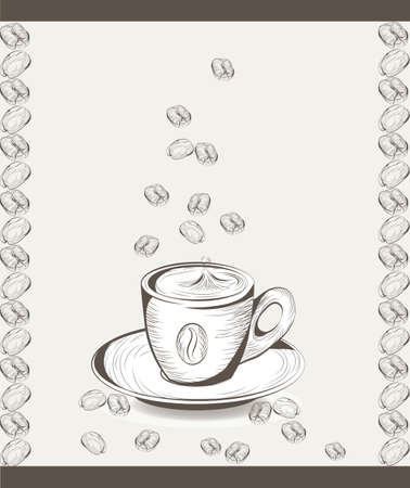 lithograph: Cup of coffee with coffee beans. illustration engraved sketch style. Old engraving Hand drawn technique