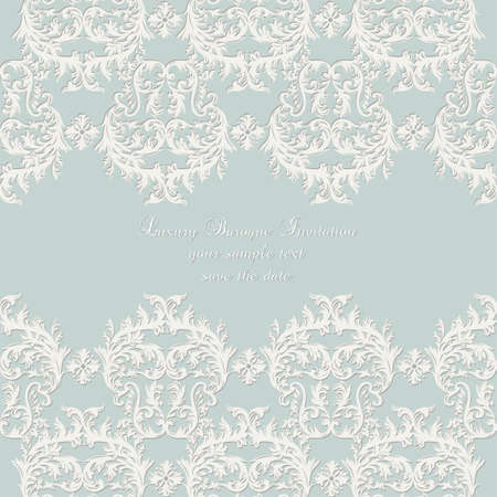 ceremonies: Damask Lace Invitation card with floral ornament. Delicate intricate decorated card for wedding ceremonies, anniversary, party, events. White and blue color Illustration