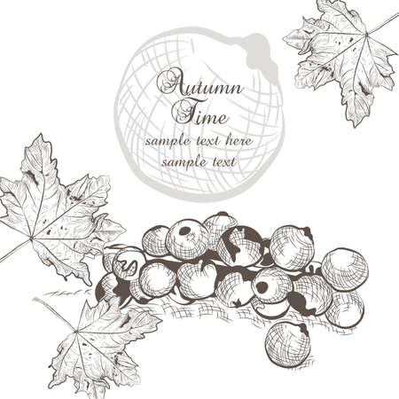 nostalgy: Autumn background with fruits and leaves. fall season card. Old engraved illustration.