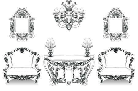 baroque furniture: Exquisite Fabulous Imperial Baroque Interior collection set furniture. French Luxury rich intricate ornamented structure. Victorian Royal Style decor